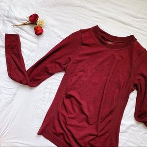 ATHLETA Burgundy Foresthill Merino Wool Ascent Top